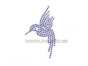 ZE014 - nažehlovací potisk z hot-fix kamenů kolibřík, rozm. cca 6,0x10,0cm