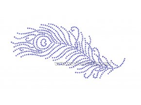 ZE016 - paví pero nažehlovací potisk z hot-fix kamínků, rozměry cca 18,3x8,9cm