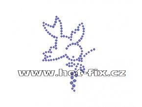 ZE022 - nažehlovací potisk z hot-fix kamenů ptáček, rozm. cca 5,0x7,3cm