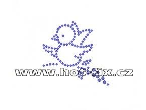 ZE024 - nažehlovací potisk z hot-fix kamenů ptáček, rozm. cca 5,8x5,7cm