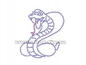 ZH003 - nažehlovací potisk z hot-fix kamenů kobra, rozm. cca 8,2x9,0cm