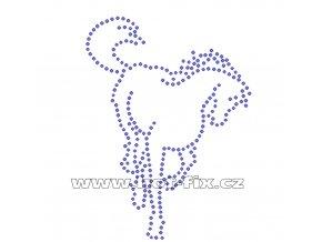 ZK003 - kůň nažehlovací hot-fix kamínkový potisk na textil, rozměry cca 9,6x13,0cm