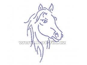 ZK004 - kůň nažehlovací hot-fix kamínková aplikace na textil, rozměry cca 8,5x12,8cm