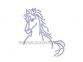 ZK014 - kůň nažehlovací potisk z hot-fix kamenů, rozměry cca 8,9x10,4cm