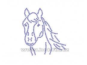 ZK015 - nažehlovací potisk z hot-fix kamenů hlava koně, rozm. cca 7,9x8,7cm