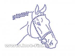 ZK023 - nažehlovací potisk z hot-fix kamenů hlava koně, rozm. cca 10,0x10,0cm