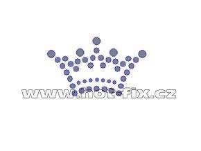 SE007 - korunka nažehlovací potisk z hot-fix kamenů, rozměry cca 5,0x3,0cm
