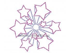 SH004 - nažehlovací potisk z hot-fix kamínků hvězda, rozměry cca 14,2x13,5cm