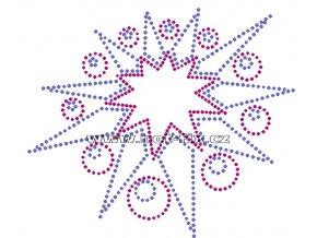 SH005 - nažehlovací potisk z hot-fix kamínků hvězda, rozměry cca 15,9x13,7cm