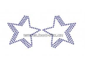 SH007 - nažehlovací potisk z hot-fix kamínků hvězdy, rozměry cca 14,8x7,0cm