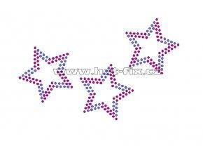 SH008 - nažehlovací potisk z hot-fix kamínků hvězdy, rozměry cca 12,7x8,0cm