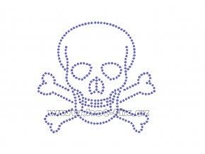 SL001 - lebka nažehlovací aplikace na textil z hot-fix kamenů, rozměry cca 10,8x10,2cm