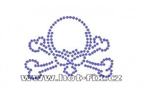 SL005 - lebka nažehlovací potisk z hot-fix kamínků, rozměry cca 6,9x5,0cm