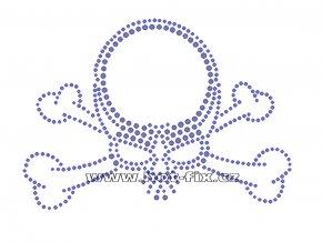 SL007 - nažehlovací potisk z hot-fix kamenů lebka, rozm. cca 14,9x10,6cm