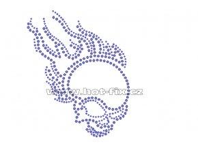SL008-A - lebka nažehlovací aplikace na textil z hot-fix kamenů, rozměry cca 11,7x14,3cm