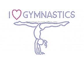C035 - nažehlovací potisk z hot-fix kamínků I love gymnastics, rozměry cca 21,2x14,5cm