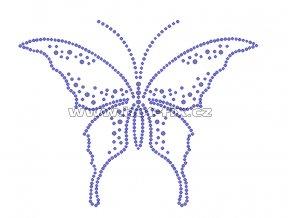 ZM006 - motýl nažehlovací hot-fix kamínková aplikace na textil, rozměry cca 15,3x12,0cm