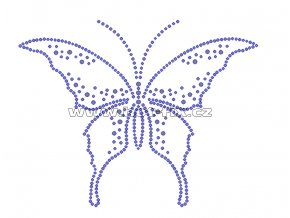 ZM006 - nažehlovací potisk z hot-fix kamenů motýl, rozm. cca 15,3x12,0cm