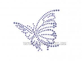 ZM012-verze L - nažehlovací potisk z hot-fix kamenů motýl, rozměry cca 8,5x7,6cm