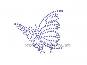 ZM012-L - nažehlovací potisk z hot-fix kamenů motýl, rozměry cca 8,5x7,6cm
