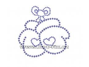SV008 - palčáky nažehlovací hot-fix kamínková aplikace na textil, rozměry cca 9,0x9,0cm