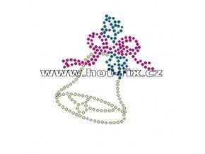 SV013 - zvonek vánoční nažehlovací hot-fix kamínkový potisk na textil, rozměry cca 6,9x7,7cm