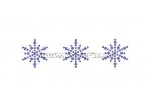 SV028-sada 3ks - sněhové vločky nažehlovací hot-fix kamínková aplikace na textil, celkové rozměry cca 11,3x3,1cm