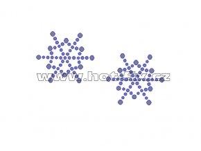 SV026-sada 2ks - sněhové vločky nažehlovací hot-fix kamínkový potisk na textil, rozměry cca 7,7x4,4cm