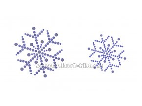 SV022-sada 2ks - nažehlovací kamínkový potisk vánoční vločky, rozměry cca 6,5x6,5cm a 4,9x4,9cm