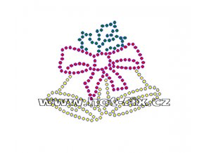 SV024-B - nažehlovací kamínkový potisk vánoční zvonky, rozměry cca 6,9x6,0cm