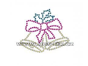 SV024-B - vánoční zvonky nažehlovací hot-fix kamínkový potisk na textil, rozměry cca 6,9x6,0cm