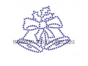 SV024-A - nažehlovací kamínkový potisk vánoční zvonky, rozměry cca 6,9x6,0cm