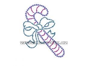 SV025-B - vánoční motiv nažehlovací hot-fix kamínkový potisk na textil, rozměry cca 8,2x10,5cm