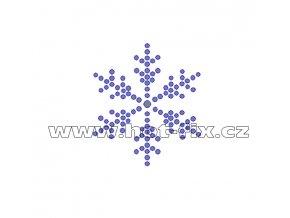SV027 - sněhová vločka nažehlovací hot-fix kamínková aplikace na textil, rozměry cca 4,4x5,0cm