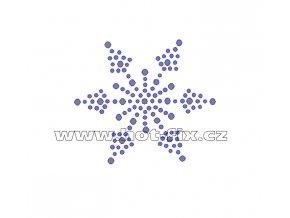 SV030 - sněhová vločka nažehlovací hot-fix kamínkový potisk na textil, rozměry cca 6,6x5,8cm