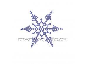 SV018 - sněhová vločka nažehlovací hot-fix kamínková aplikace na textil, rozměry cca 7,0x6,2cm