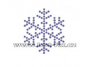 SV031 - zažehlovací kamínkový potisk na textil sněhová vločka, rozměry cca 6,2x6,9cm