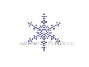 SV053 - sněhová vločka nažehlovací hot-fix kamínkový potisk na textil, rozměry cca 5,6x6,4cm