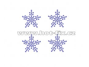 SV052-sada 4ks - vločky nažehlovací hot-fix kamínkový potisk na textil, celkové rozměry cca 7,3x7,0cm