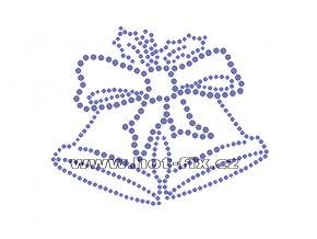SV003-A - nažehlovací hot-fix kamínkový potisk na textil vánoční zvonky, rozměry cca 10,9x9,0cm