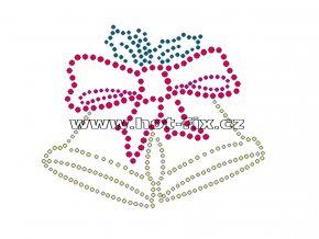 SV003-B - vánoční zvonky nažehlovací hot-fix kamínková aplikace na textil, rozměry cca 10,9x9,0cm