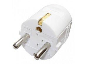 Zástrčka, vidlice přímá pro prodlužovací kabel, bílá