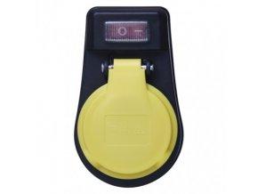 Zásuvka s vypínačem, IP44, černá