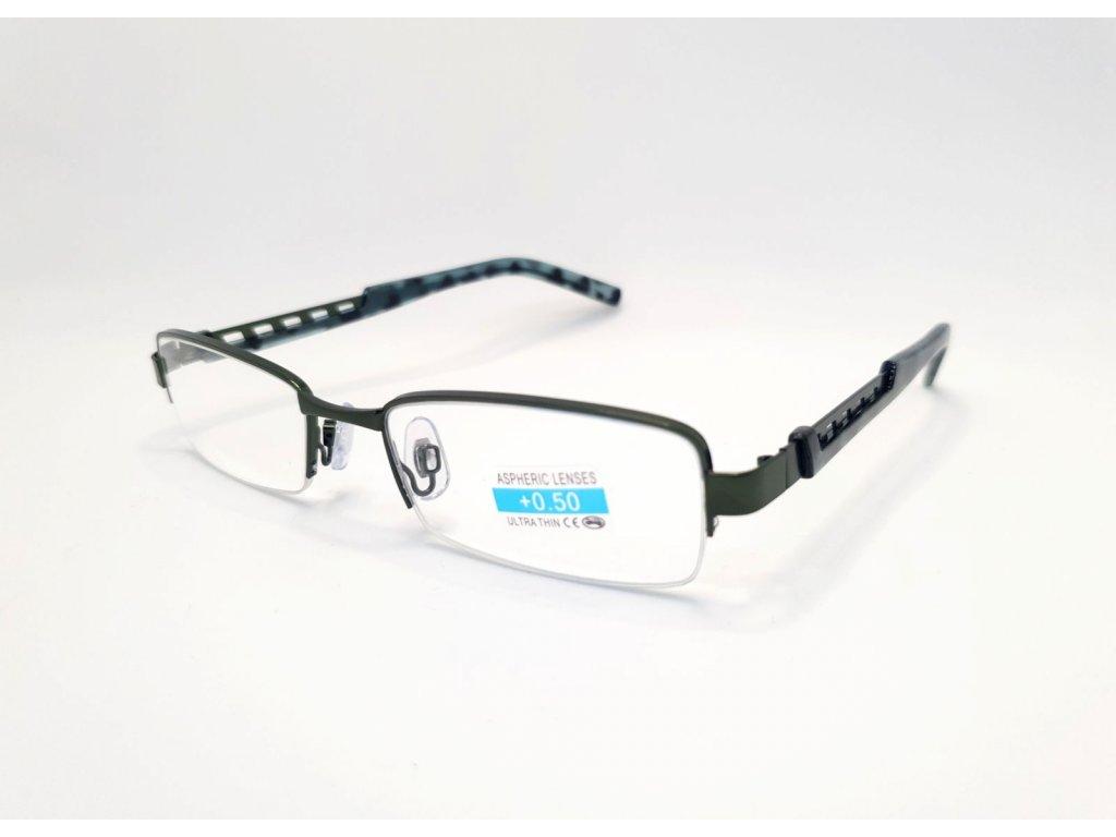 Dioptrické brýle M1.02/ +0,50 tmavě-zelené rámeček