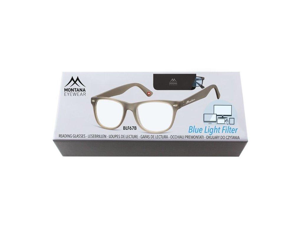 MONTANA EYEWEAR Brýle na počítač BLF BOX 67B GREY bez dioptrií
