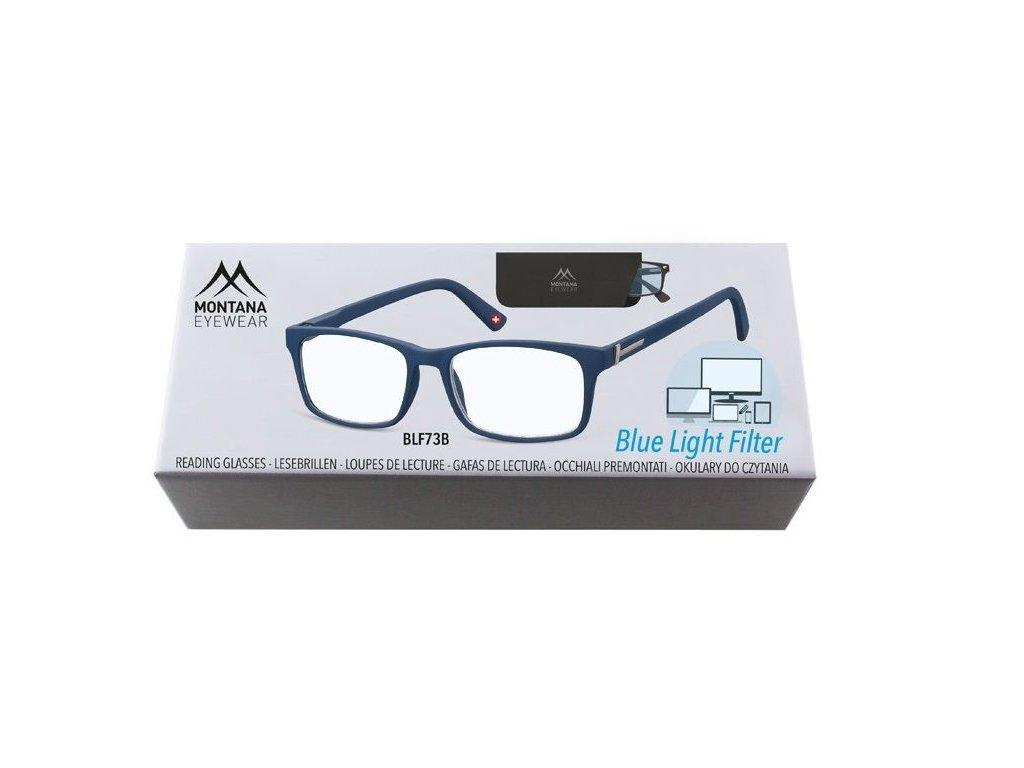 MONTANA EYEWEAR Brýle na počítač BLF BOX 73B BLUE s dioptrií +3,50