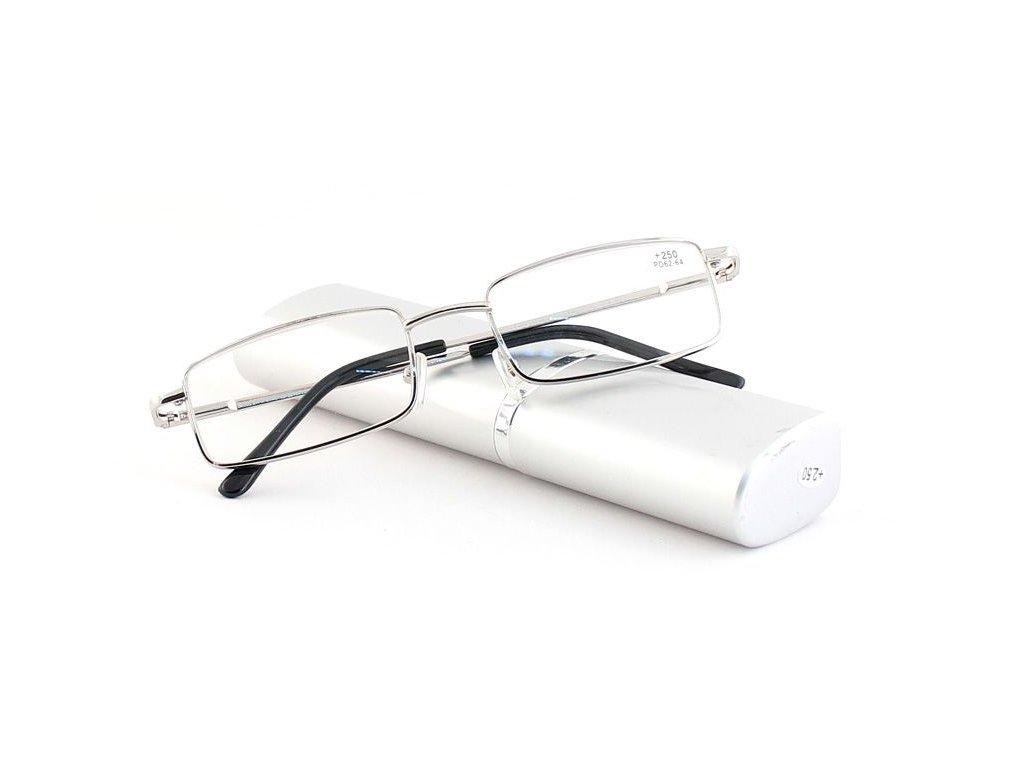 Dioptrické brýle v pouzdru Respect 008/ +4,00 silver
