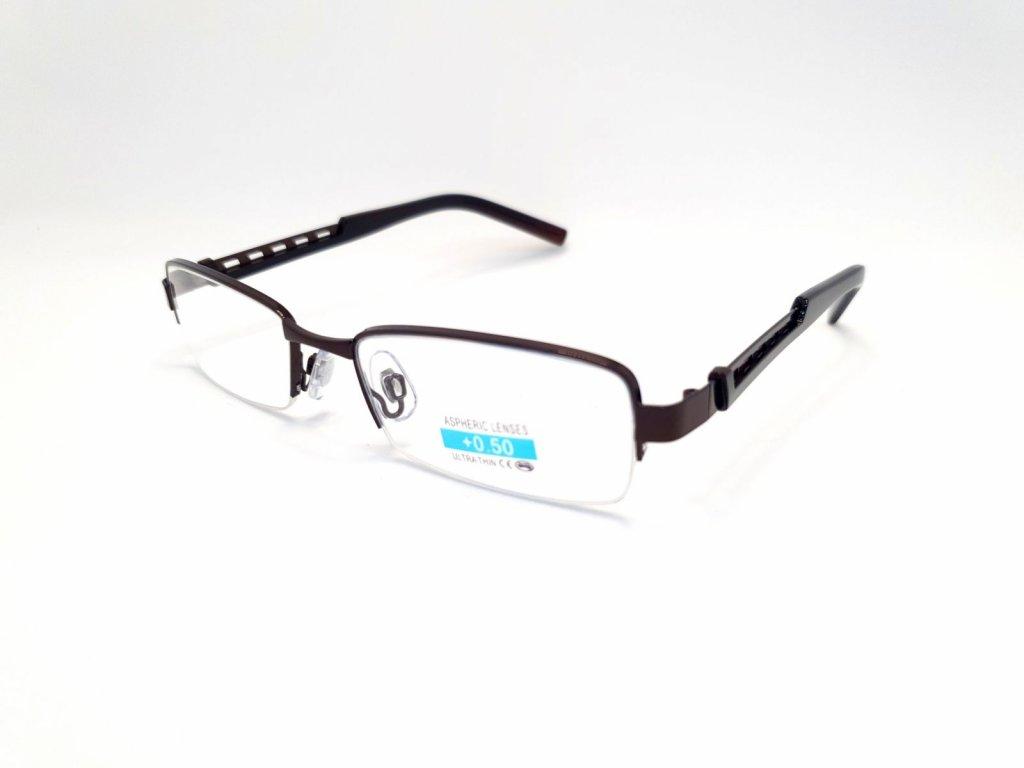 Dioptrické brýle M1.02/ +4,00 hnědý rámeček