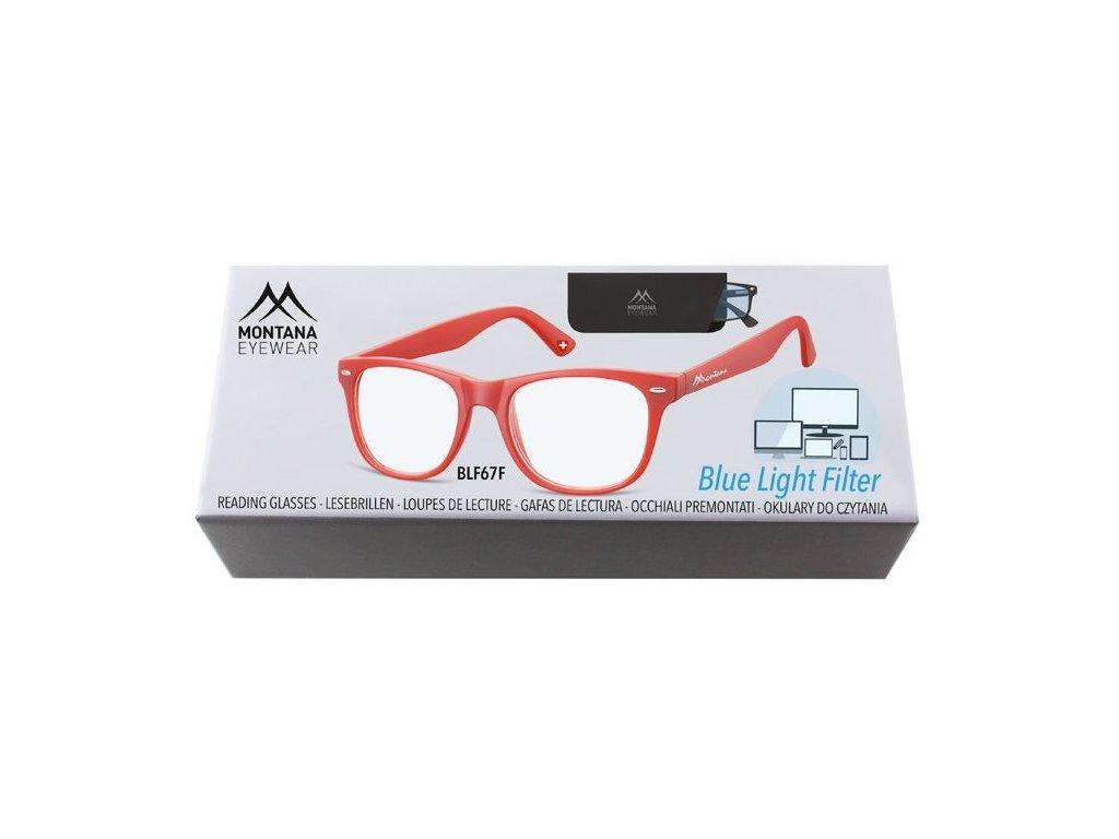 MONTANA EYEWEAR Brýle na počítač BLF BOX 67F RED +3,50