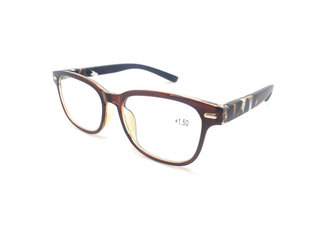 Dioptrické brýle Y18186 / +1,50 s pérováním hnědé